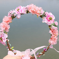 Pink Colorful fabric Wreath Flower halo Bridal Floral Crown Hair Wreath wedding headpiece Woodland Rustic Mermaid wreath