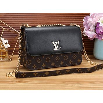 LV Female Printed Shopping Bag Single Shoulder Bag Black