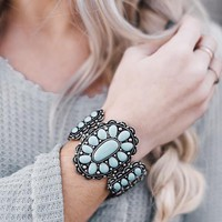 Pave Concho Turquoise Cuff