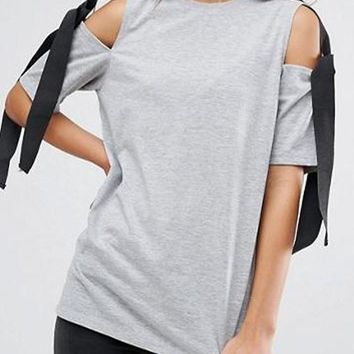Grey Patchwork Cut Out Bow Elbow Sleeve T-Shirt