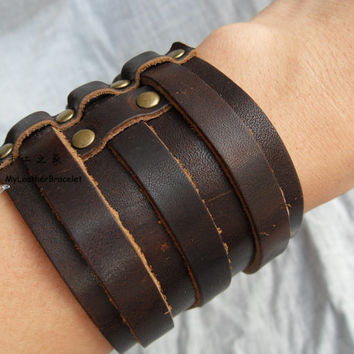 Men S Leather Bracelet With Three Buckles Brown Cuff Le