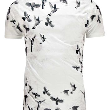 All Over Bird Print T Shirt