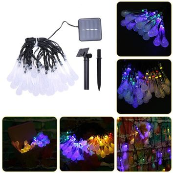 30 LED Water Drop Solar Powered String Lights LED Fairy Light for Christmas Wedding Party Festival Outdoor Indoor Decor light