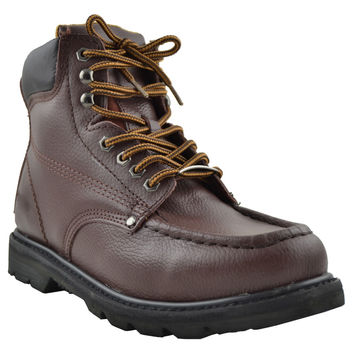 Mens Boots Oil Resistant Stitched Leather Work Hiking Padded Shoes Brown