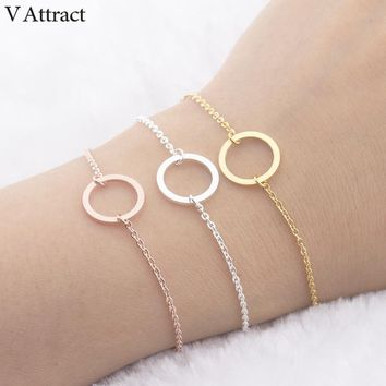 V Attract Rose Gold Filled Karma Circle Charm Bracelet & Bangle Women Men Boho Jewelry Stainless Steel Chain Silver Pulseras