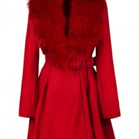 Fox Collar Fit and Flared Red Coat - OASAP.com