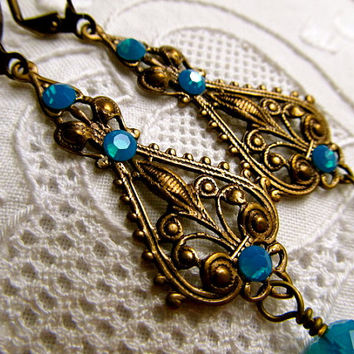 Art Nouveau Earrings Blue Opal Earrings Swarovski Crystal Earrings Brass Filigree Earrings- Desire