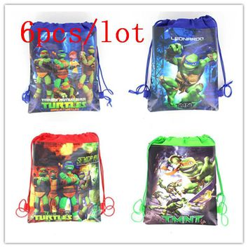 6Pcs/Lot Ninja Turtle Theme Colorful Drawstring Bags Family Party Candy Gift Bags Boy Favor Cartoon String School Bags Supply