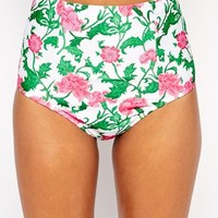 ASOS Thistle Floral Print Seam Detail High Waist Bikini Bottom