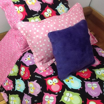 Doll bedding for 18 inch dolls, with colorful owls on black, pink mini print plus two accent pillows, cotton fabric