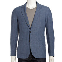 Glen Plaid Linen Sport Coat, Indigo