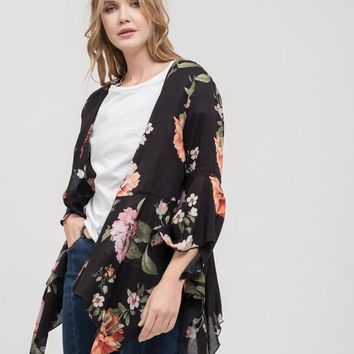 Print Kimono with 3/4 Bell Sleeves- Black Multi
