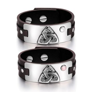 Celtic Triquetra Knot Amulets Love Couples White Pink Simulated Cats Eye Brown Leather Bracelets