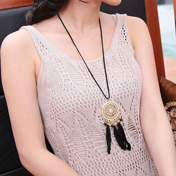 Bohemian Dream Catcher Circle Mesh Black Feathers Necklace Charm Women = 1928390980