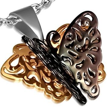 Monarch 3D Butterfly Black and Rose Gold Stainless Steel Pendant Necklace