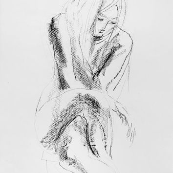Wall artwork Giclee print of original charcoal drawing Sketch Contemporary Graphic art Fine art Nude woman Model Home decor