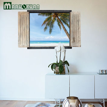 New 3D Landscape Fake Window Wall Stickers New Chinese Bedroom Living Room Entrance Decorative Stickers Can Be Removed