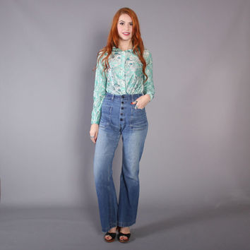 60s Perfectly Worn SAILOR JEANS / 1970s  Swabys High Waist Denim Bell Bottoms, xs