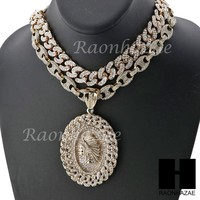 "Iced Out Apache Oval Pendant 16"" Iced Out Choker 18"" Puffed Gucci Chain Set G33"