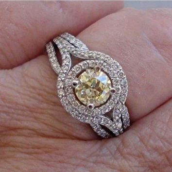Luxinelle Natural Yellow Diamond Engagement Ring - Old Mine Cut with Double Halo - 14K White Gold by Luxinelle® Jewelry