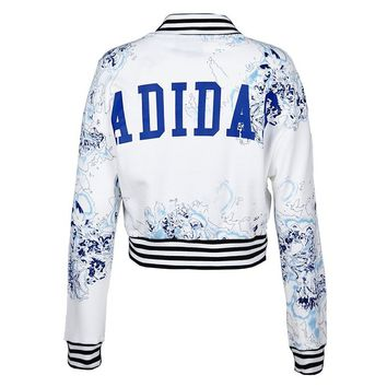 Adidas Originals Women's London Printed Superstar Track Jacket-White/Blue