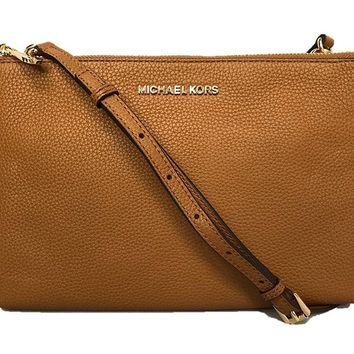Michael Kors Jet Set Travel Double Zip Gusset Signature Crossbody