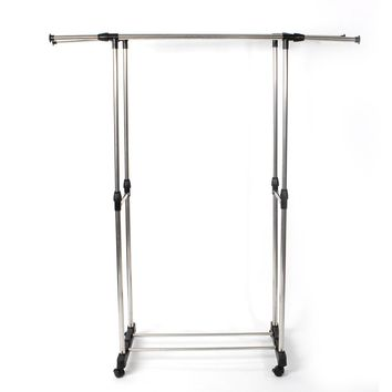 Dual-bar Vertically & Horizontally-stretching Stand Clothes Rack with Shoe Shelf Silver