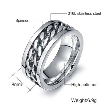 Customized Name Wedding Rings Stainless Steel Turntable Chain Design Finger Rings 3 Color Wide Ring for Men