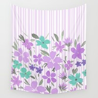 Floral Spring and Stripes Lavender Wall Tapestry by Lisa Argyropoulos