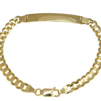 SOLID 14K YELLOW GOLD MADE IN ITALY CUBAN CURB LINK ID BRACELET 8 INCH 6.50MM