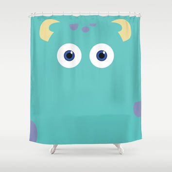 PIXAR CHARACTER POSTER - Sulley 2- Monsters, Inc. Shower Curtain by Marco Calignano