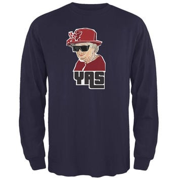 YAS Queen Navy Adult Long Sleeve T-Shirt