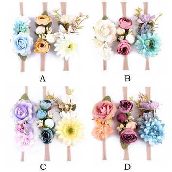 3pcs/set Fashion kids Floral Headband Bohemian Style Rose Flower Crown nylon Hairbands  Beach Hair Accessories