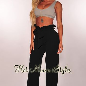 Black Paperbag Belted Palazzo Pants