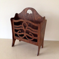 Vintage magazine rack or magazine holder dark wood