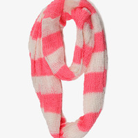 Open Knit Striped Infinity Scarf