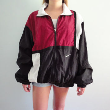 90's Nike Windbreaker Track Jacket, Color Block Burgundy, Black and White, Size XL