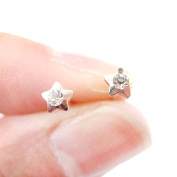 Tiny Star Shaped Stud Earrings in Rose Gold with Rhinestones   DOTOLY