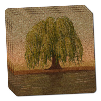 Old Weeping Willow Tree Thin Cork Coaster Set of 4