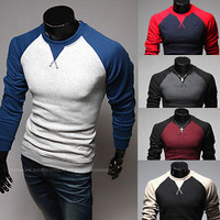 Jeansian Mens Fashion t- Shirts Splice Cross Line Slim Tops 5 Color 4 Sizes D346