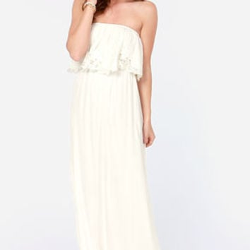 LULUS Exclusive Born Free Ivory Strapless Maxi Dress