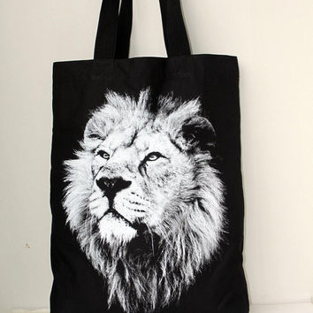 Lion King Head  big size Canvas tote bag/Diaper bag/Shopping bag/ Document bag /Market Bag.