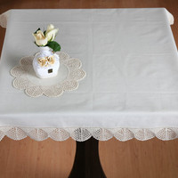 Scalloped edge CROCHET TABLECLOTH - HANDMADE -Table Runner for Home Decor, Wedding, Birthdays, Bridal & Gifts.