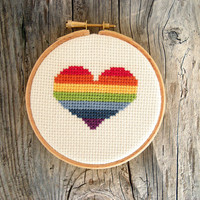 Rainbow heart decor, cross stitch hoop art, valentine's day decor, nursery decoration