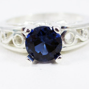 Blue Sapphire Filigree Ring Sterling Silver, September Birthstone Ring, Sterling Filigree Ring, 925 Sterling Silver Filigree Solitaire Ring