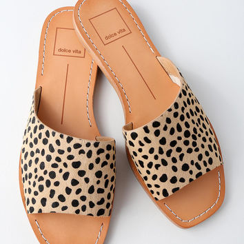 Cato Leopard Pony Fur Slide Sandals