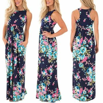 Women Summer Boho Long Maxi Dress Sleeveless Evening Cocktail Party Beach Dress