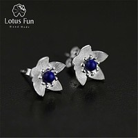 Lotus Fun Real 925 Sterling Silver Natural Lapis Original Handmade Fine Jewelry Fresh Flower Stud Earrings for Women Brincos