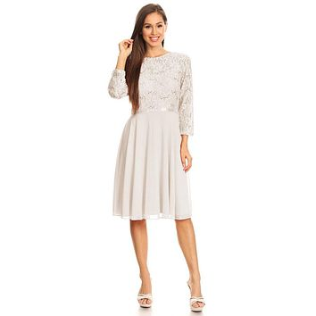 Ivory Quarter Sleeves Lace Knee-Length Wedding Guest Dress