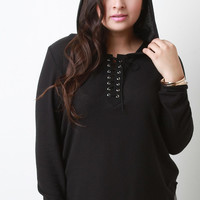 Hooded Lace Up Soft Knit Top